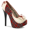 TEEZE-26 Cream/Red Faux Leather/Plaid